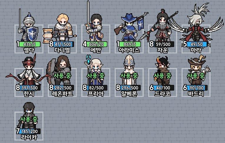 킹갓캐슬 캐릭터 등급표